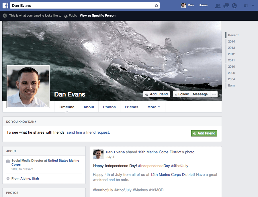 Dan Evans Facebook Profile