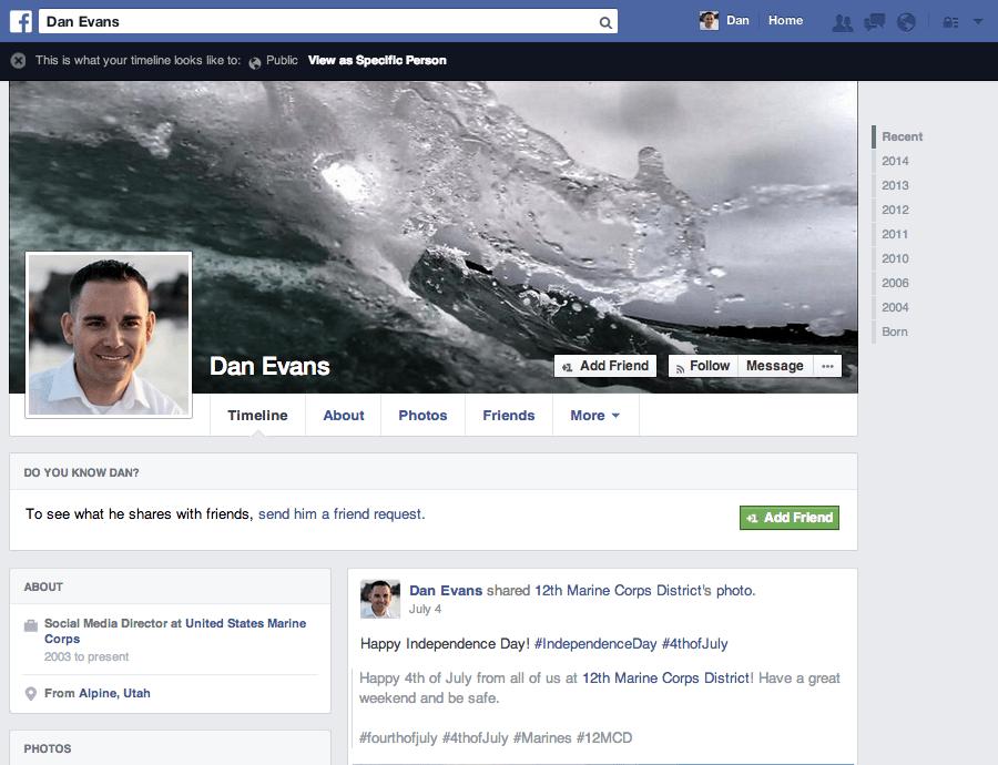 Dan Evans Facebook Profile