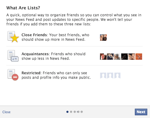 Privacy & Lists Facebook